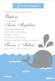 Baby Whale Baptism Christening Baby Shower Customised Invitation Card - AUSTRALIAN FAVORS
