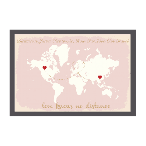 World Map Wedding Guest Book Alternative - Pink & Gold