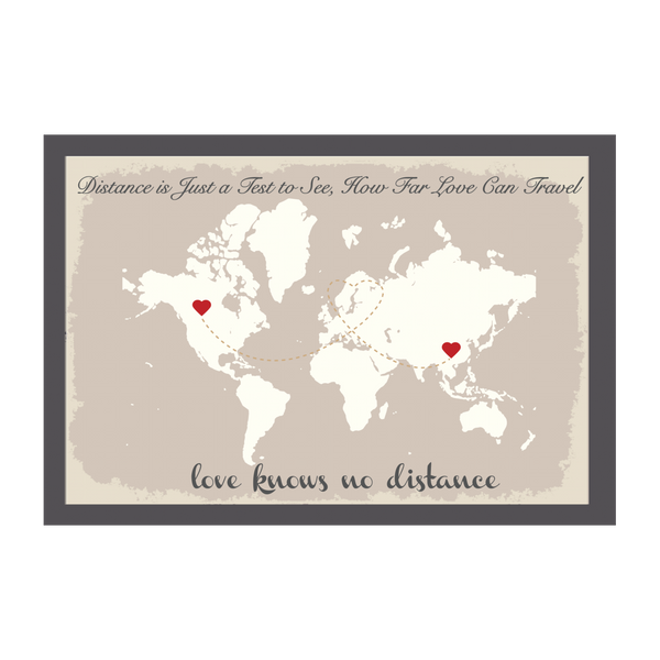World Map Wedding Guest Book Alternative - Beige