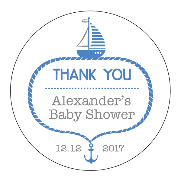 Nautical Anchor Sailing Baby Shower Customized Party Round Favour Sticker - AUSTRALIAN FAVORS