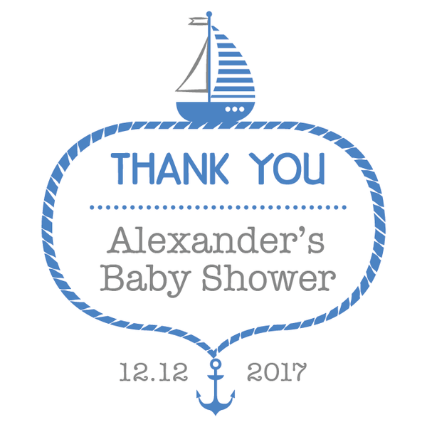Nautical Anchor Sailing Baby Shower Customized Party Favour Tag & Sticker - Square - AUSTRALIAN FAVORS