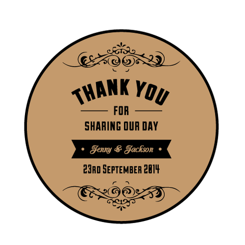 Vintage Rustic Brown Kraft Personalised Wedding Favour Thank You Round Sticker
