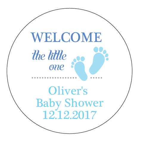 Little Foot Steps Baby Shower Customized Party Round Favour Sticker - AUSTRALIAN FAVORS
