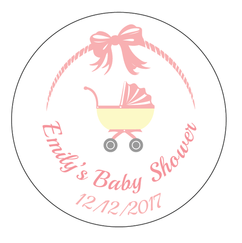 Pink Baby Pram Baby Shower Customized Party Round Favour Sticker - AUSTRALIAN FAVORS