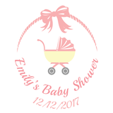 Pink Baby Pram Baby Shower Customized Party Favour Tag & Sticker - Square