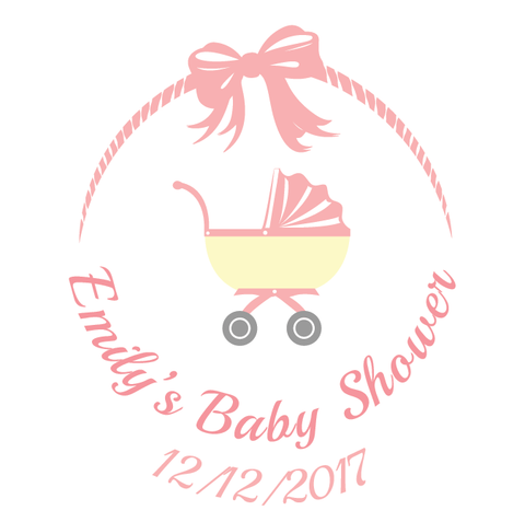Pink Baby Pram Baby Shower Customized Party Favour Tag & Sticker - Square - AUSTRALIAN FAVORS