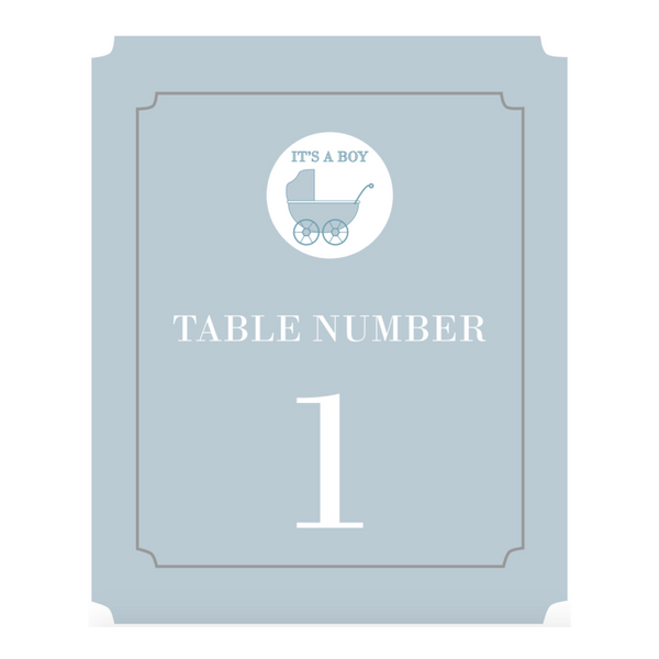 Baby Pram Boy Baby Shower Baptism Party Personalised Table Number - AUSTRALIAN FAVORS