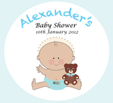 Brown Teddy Bear Boy Baby Shower Customized Party Favour Tag & Sticker - Square - AUSTRALIAN FAVORS