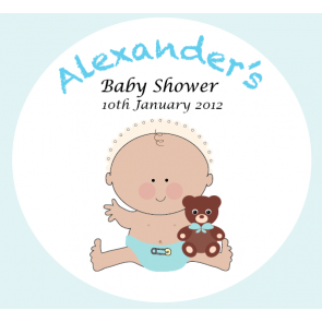 Baby Boy with White Teddy Bear Baby Shower Personalized Favour Tag / Sticker - Square - AUSTRALIAN FAVORS