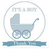 Baby Pram Boy's Personalized Baby Shower Thank You Tag & Sticker Label - AUSTRALIAN FAVORS