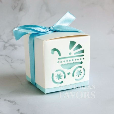 Baby's Day Out Baby Carriage Pram Baby Shower Favour Box in Blue (10 Pcs) - AUSTRALIAN FAVORS