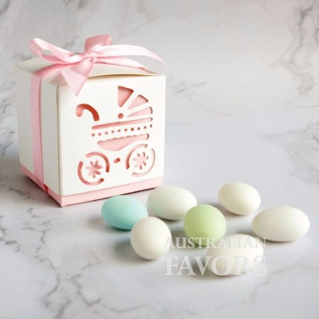 Baby's Day Out Baby Carriage Pram Baby Shower Favour Box in Pink (10 Pcs) - AUSTRALIAN FAVORS