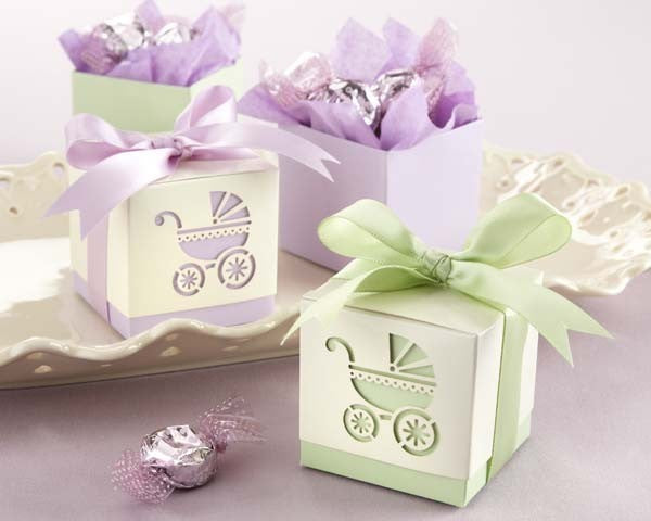 Baby's Day Out Baby Carriage Pram Baby Shower Favour Box in Green (10 Pcs) - AUSTRALIAN FAVORS