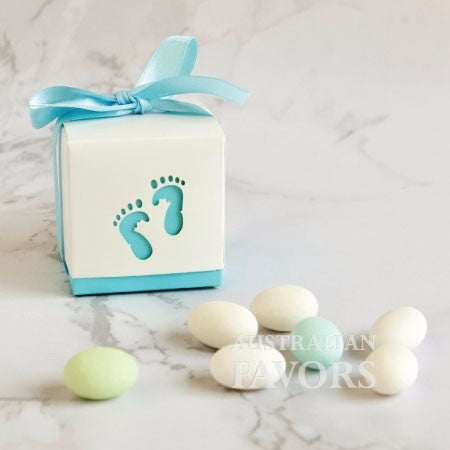 Baby Steps Boy Footprint Baby Shower Christening Favour Box in Blue (10 Pcs) - AUSTRALIAN FAVORS