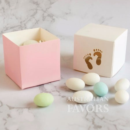Baby Steps Girl Footprints Baby Shower Christening Favour Box in Pink (10 Pcs) - AUSTRALIAN FAVORS