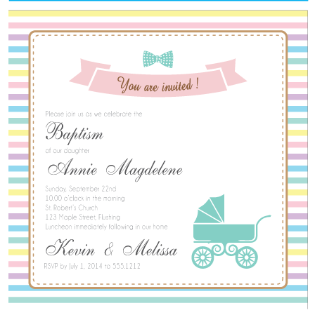 Baby Pram Pastel Stripes Baby Shower Baptism Christening Invitation Card - AUSTRALIAN FAVORS
