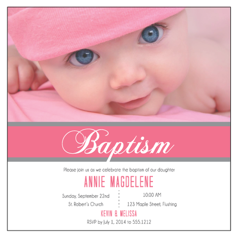 Baby's 1st Birthday Baptism Christening Baby's Photo Personalised Invitation Card - AUSTRALIAN FAVORS