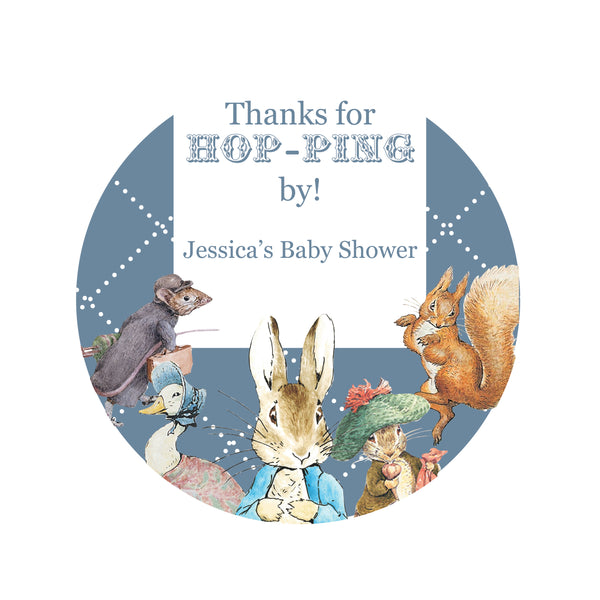 Peter Rabbit: Blue Baby Boy Shower Personalised Round Thank You Favour Sticker