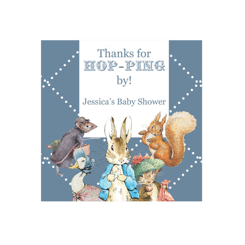 Peter Rabbit: Blue Personalised Baby Shower Square Favour Thank You Tag & Sticker - AUSTRALIAN FAVORS