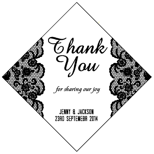 Black Laces Floral Personalised Wedding Bomboniere Thank You Tag & Sticker - AUSTRALIAN FAVORS