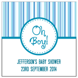 Oh Boy! Blue Stripes Baby Shower Personalised Favour Tag & Sticker - AUSTRALIAN FAVORS