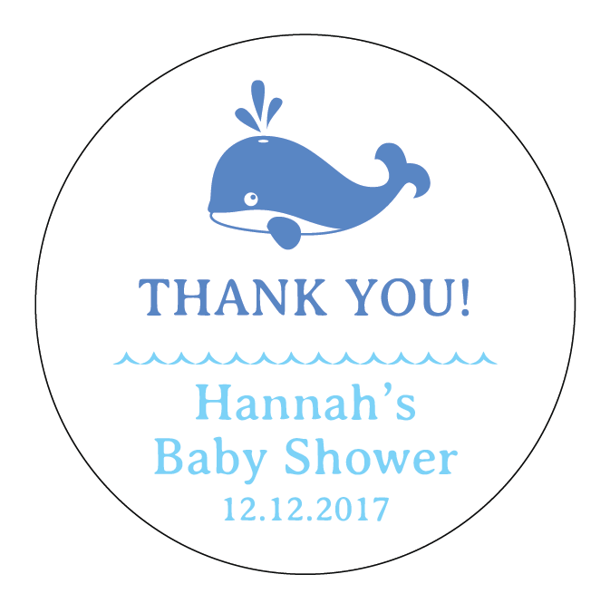 Little Blue Whale Baby Shower Customized Party Round Favour Sticker - AUSTRALIAN FAVORS