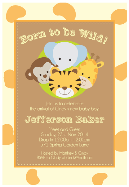 Born to be Wild Animal Safari Baby Shower Personalised Invitation Card - AUSTRALIAN FAVORS