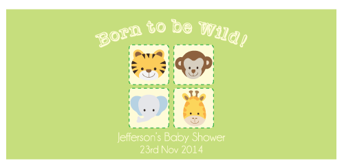 Born to be Wild Animal Jungle Safari Personalised Napkin Band Baby Shower Decoration - AUSTRALIAN FAVORS