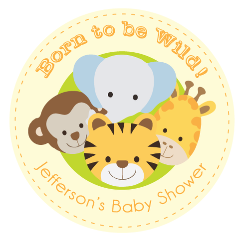 Born to be Wild Animal Jungle Safari Baby Shower Gift Sticker Label - AUSTRALIAN FAVORS