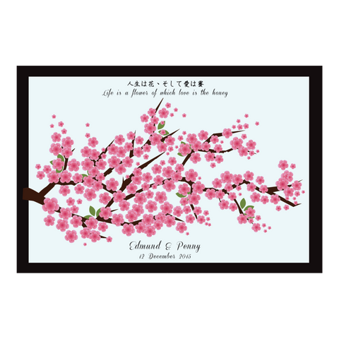 Pink Cherry Blossom Tree Personalised Chinese Wedding Guest Book Poster - Sky Blue