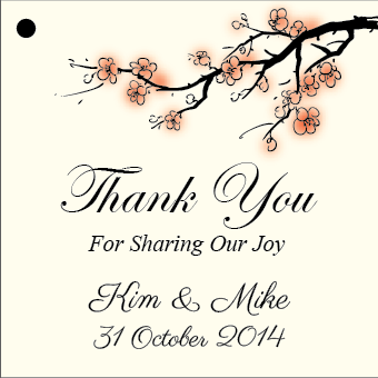 Cherry Blossoms in Watercolour Personalised Wedding Favour Thank You Gift Tags & Sticker - AUSTRALIAN FAVORS