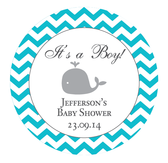 Chevron & Whale Boy Baby Shower Favour Personalised Thank You Sticker Label - AUSTRALIAN FAVORS
