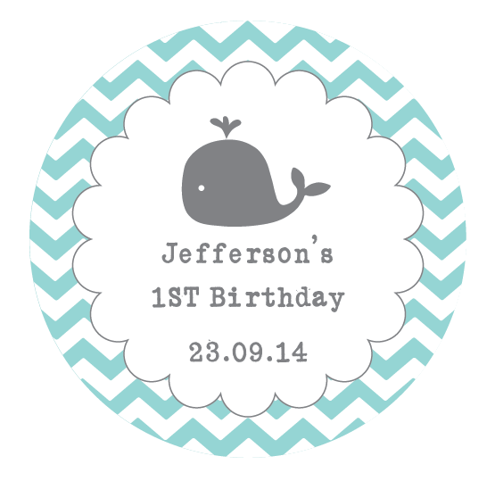 Whale Scalloped Border Chevron Baby Shower 1st Birthday Party Favour Personalized Thank You Gift Sticker