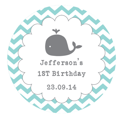 Whale Scalloped Border Chevron Baby Shower & 1st Birthday Party Favour Personalised Thank You Gift Sticker