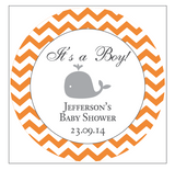 Chevron & Whale Boy Baby Shower Favour Personalised Thank You Sticker Label