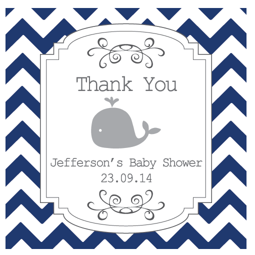 Chevron & Whale Boy Baby Shower Personalized Tag & Thank You Sticker - AUSTRALIAN FAVORS