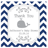 Chevron & Whale Boy Baby Shower Personalized Tag & Thank You Sticker