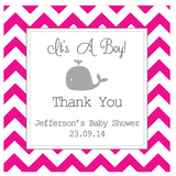 Chevron & Whale Boy Baby Shower Favour Personalised Tag & Sticker - AUSTRALIAN FAVORS