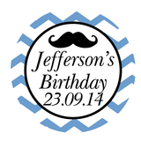 Chevron & Mustache Boy Birthday Personalized Favour Thank You Sticker - AUSTRALIAN FAVORS