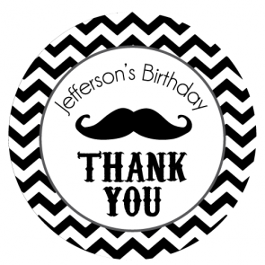 Chevron & Mustache Birthday Personalized Favour Thank You Sticker - AUSTRALIAN FAVORS