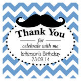 Chevron & Mustache Birthday Personalized Favour Thank You Tag/Sticker - AUSTRALIAN FAVORS