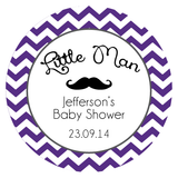 Chevron & Mustache Personalized Baby Shower Favour Thank You Sticker - AUSTRALIAN FAVORS