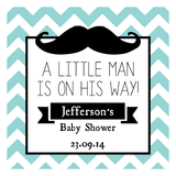 Chevron & Moustache Boy Baby Shower My Little Man Personalised Favour Thank You Tag & Sticker - AUSTRALIAN FAVORS