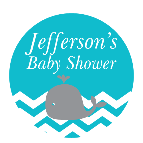 Whale & Chevron Waves Boy Baby Shower Personalised Party Thank You Favour Sticker