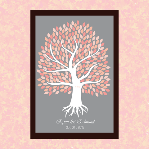 Coral Pink Tree Personalised Garden Framed Wedding Guest Book Poster