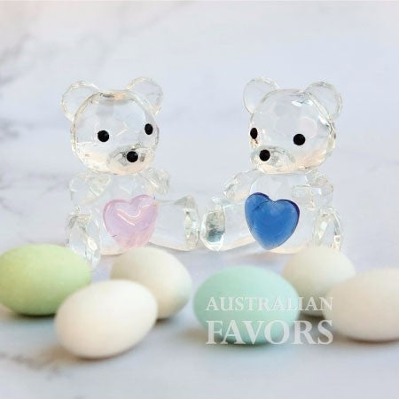 Crystal Teddy Bear Blue Boy Baby Shower Christening Baptism Favours - AUSTRALIAN FAVORS