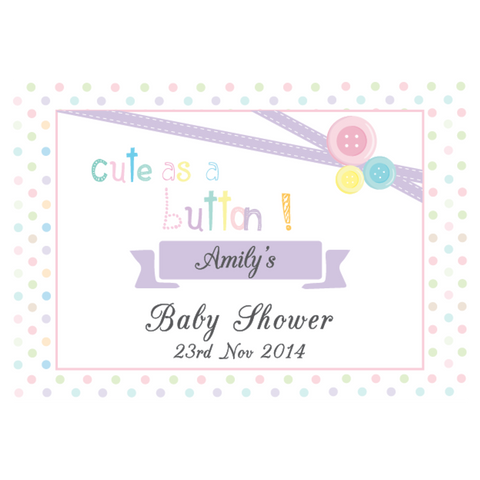 Cute as a Button Personalised Baby Shower Baptism Greeting Sign Party Decoration - AUSTRALIAN FAVORS