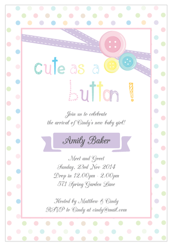 Cute As A Button Baby Shower Baptism Christening Party Invitation - AUSTRALIAN FAVORS
