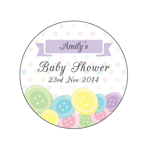 Cute As A Button Baby Shower Round Personalised Favour Sticker Label - AUSTRALIAN FAVORS