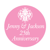 Damask Wedding Anniversary Party Personalised Favour Thank You Gift Sticker Label - AUSTRALIAN FAVORS